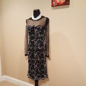 Vintage Bill Blass Black Lace Cocktail Dress Gown
